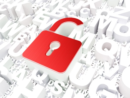 Safety concept  Opened Padlock on alphabet background, 3d render photo