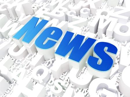 Noticias Noticias concepto sobre fondo alfabeto, 3d render