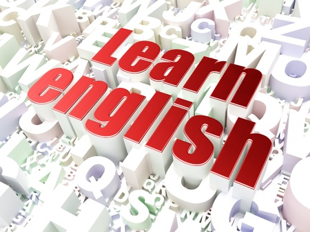 Education concept  Learn English on alphabet  background, 3d render photo