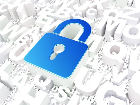 Safety concept  Closed Padlock on alphabet background, 3d render photo