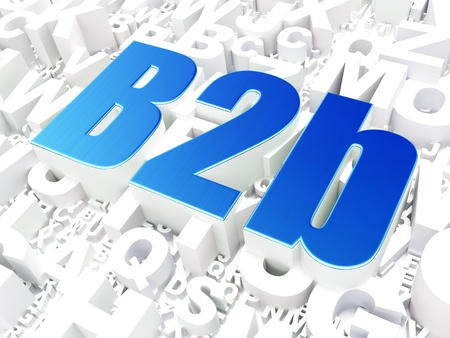 Business concept  B2b on alphabet  background, 3d render photo