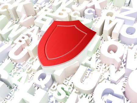 Security concept  Shield on alphabet background, 3d render Stock Photo - 17677785