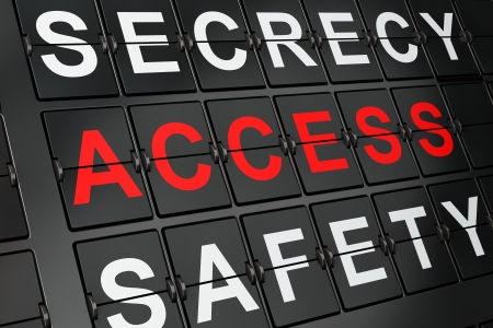 Security concept  Access on airport board background, 3d render Stock Photo - 17677794