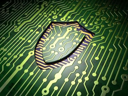 contoured: Concepto de seguridad de circuito con contorneada icono Shield, 3d render