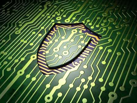 Safety concept  circuit board with Contoured Shield icon, 3d render Stock Photo - 17677841