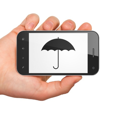 Privacy concept  hand holding smartphone with Umbrella on display  Generic mobile smart phone in hand on White background  Stock Photo - 17677896