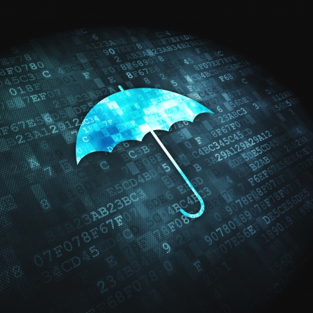 Protection concept  pixelated Umbrella icon on digital background, 3d render Stock Photo - 17678025