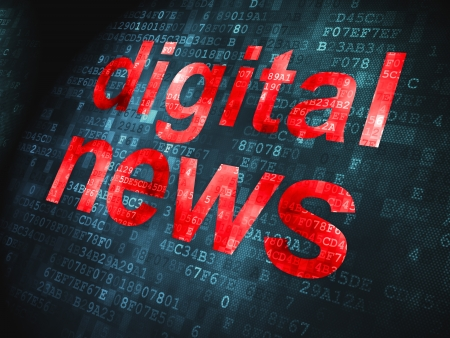 News concept  pixelated words Digital News on digital background, 3d render Stock Photo - 17678124