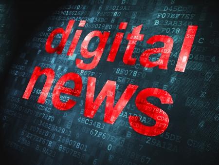 News concept  pixelated words Digital News on digital background, 3d render Stock Photo - 17678124