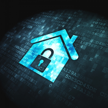Seguridad concepto icono Inicio pixelada en fondo digital, 3d