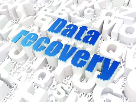 data recovery: Information concept  Data Recovery on alphabet  background, 3d render