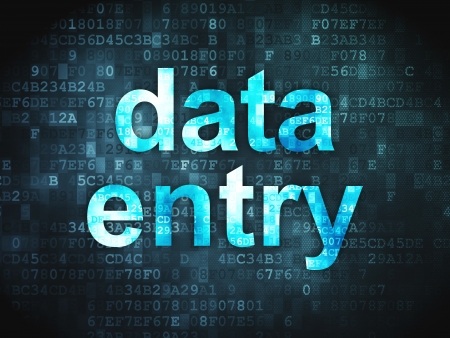 data entry: Information concept  pixelated words Data Entry on digital background, 3d render
