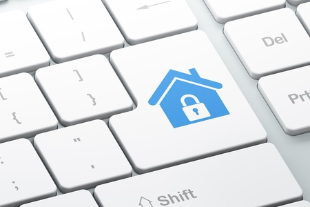 Protection concept  Enter button with Home on computer keyboard, 3d render Stock Photo - 17678087