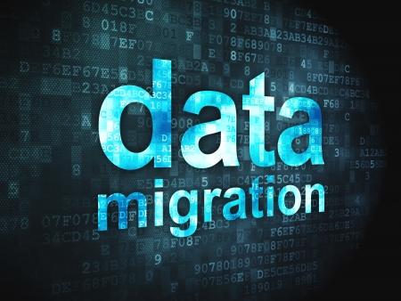 Información concepto palabras pixelada de migración de datos en fondo digital, 3d