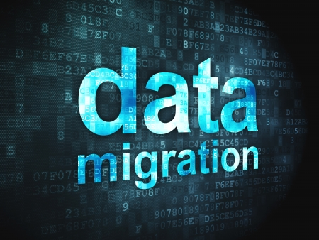 Informaci�n concepto palabras pixelada de migraci�n de datos en fondo digital, 3d photo