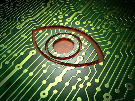 Safety concept  circuit board with Eye icon, 3d render Stock Photo - 17678099