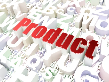 Marketing concept  Product on alphabet  background, 3d render photo