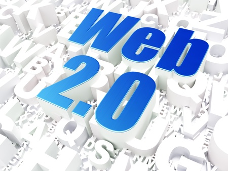 web 2 0: Web development SEO concept  Web 2 0 on alphabet  background, 3d render