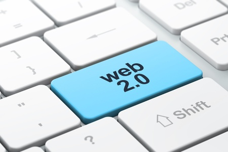 2 0: Web design SEO concept  computer keyboard with word Web 2 0, selected focus on enter button, 3d render Stock Photo