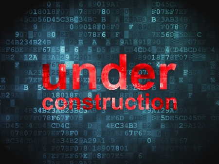 Web design SEO concept  pixelated words Under Construction on digital background, 3d render photo