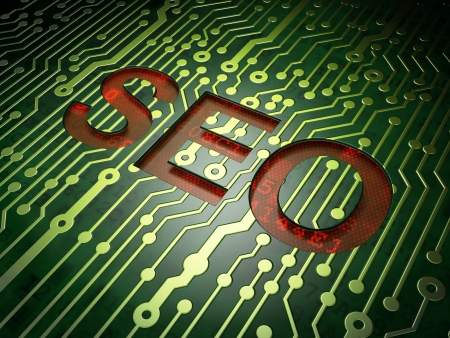 Web design SEO concept  circuit board with word SEO, 3d render Stock Photo - 17678097