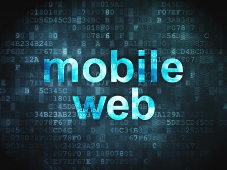 Web design SEO concept  pixelated words Mobile Web on digital background, 3d render Stock Photo - 17678102