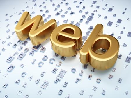 Web development SEO concept  Golden Web on digital background, 3d render Stock Photo - 17678085