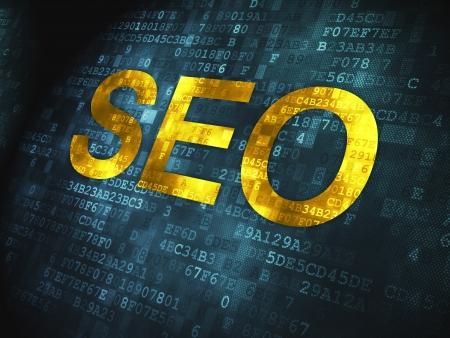 Web design SEO concept  pixelated words SEO on digital background, 3d render Stock Photo - 17678140