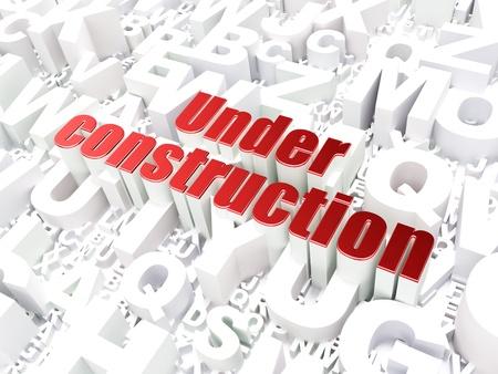 Web development SEO concept  Under Construction on alphabet  background, 3d render Stock Photo - 17678134