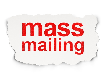 mailing: Advertising concept  torn paper with words Mass Mailing on  background, 3d render