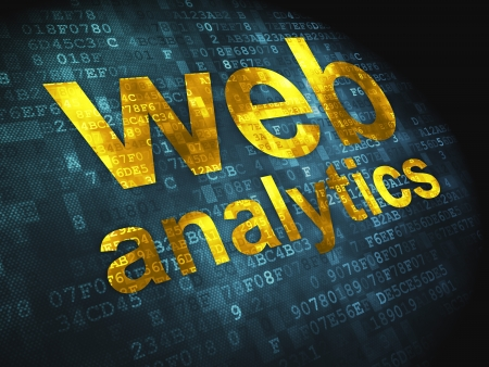 SEO web design concept  pixelated words Web Analytics on digital background, 3d render