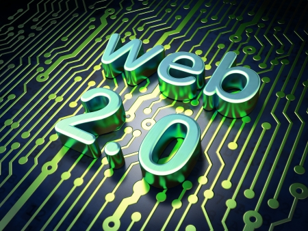 2 0: Web design SEO concept  circuit board with word Web 2 0, 3d render