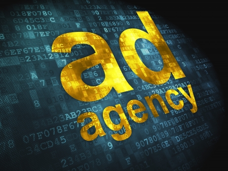 Advertising concept  pixelated words Ad Agency on digital background, 3d render photo