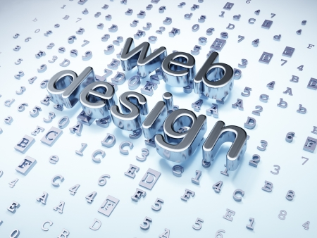 SEO web design concept  Silver Web Design on digital background, 3d render photo