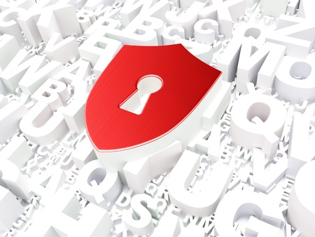 Safety concept  Shield With Keyhole on alphabet background, 3d render Stock Photo - 17742622