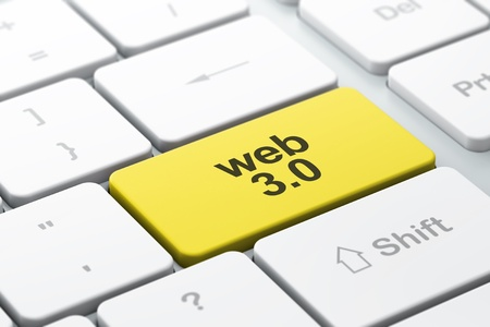 SEO web development concept  computer keyboard with word Web 3 0, selected focus on enter button, 3d render photo
