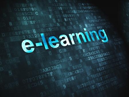 Educación concepto palabras pixeladas de e-learning en el fondo digital, 3d render