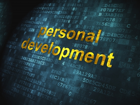 Education concept  pixelated words Personal Development on digital background, 3d render photo