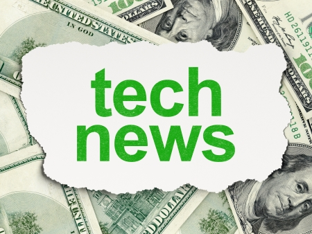 News concept  torn paper with words Tech News on Money background, 3d render photo
