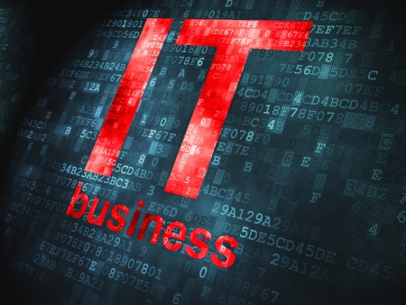Finance concept  pixelated words IT Business on digital background, 3d render photo