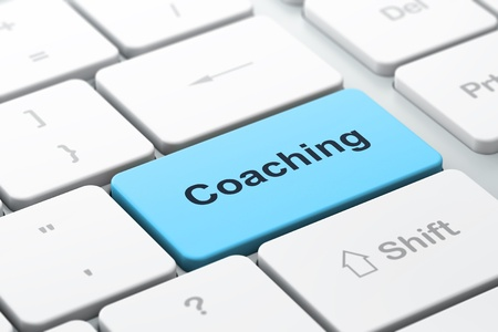 Concepto de educación teclado de ordenador con palabra Coaching, enfoque seleccionada en la tecla Enter, 3d