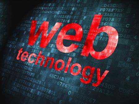 SEO web design concept  pixelated words Web Technology on digital background, 3d render Stock Photo - 17742729