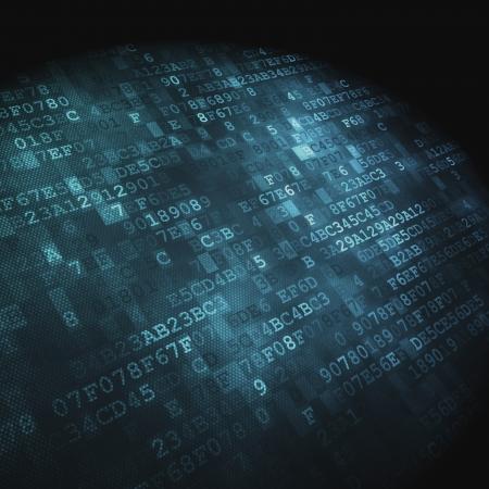 Concepto de la tecnología de punta hexagonal código digital de fondo, 3D, render Foto de archivo
