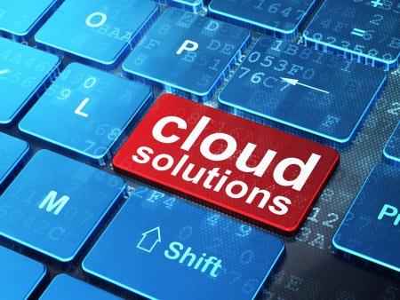 Botón, 3d tecnología de computación en nube, el concepto de redes teclado de ordenador con palabra nube Soluciones de entrar