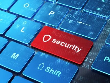 Concepto de privacidad teclado del ordenador con el icono del escudo contorneado y Seguridad palabra sobre el botón Enter, 3d render