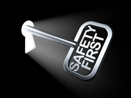 Security concept  Safety First on key in keyhole, 3d render Stock Photo - 17885785
