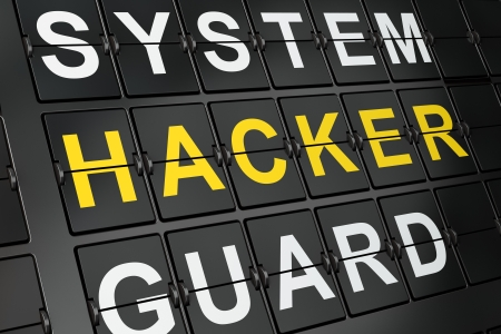 Privacy concept  Hacker on airport board background, 3d render Stock Photo - 17885783
