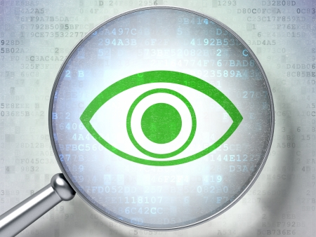 Magnifying optical glass with Eye icon on digital background, 3d render Stock Photo - 17885830