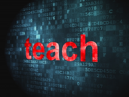 Education concept  pixelated words Teach on digital background, 3d render photo