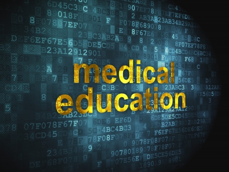 Education concept  pixelated words Medical Education on digital background, 3d render Stock Photo - 17885845